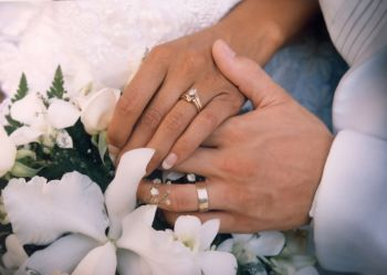 Bride And Groom Exchange Wedding Vows Rings
